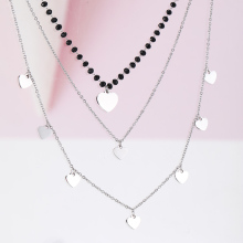 Women Multilayer Black Crystal Heart Charms Necklace Chains Choker Stainless Steel Bijoux Collier Jewelry 2019 Trendy