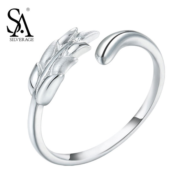 aa882bc74f1 SA SILVERAGE 925 Silver Rings For Girls Wheat Open Adjustable Rings Genuine  925 Sterling Silver Fine Jewelry Women 2018 Gift