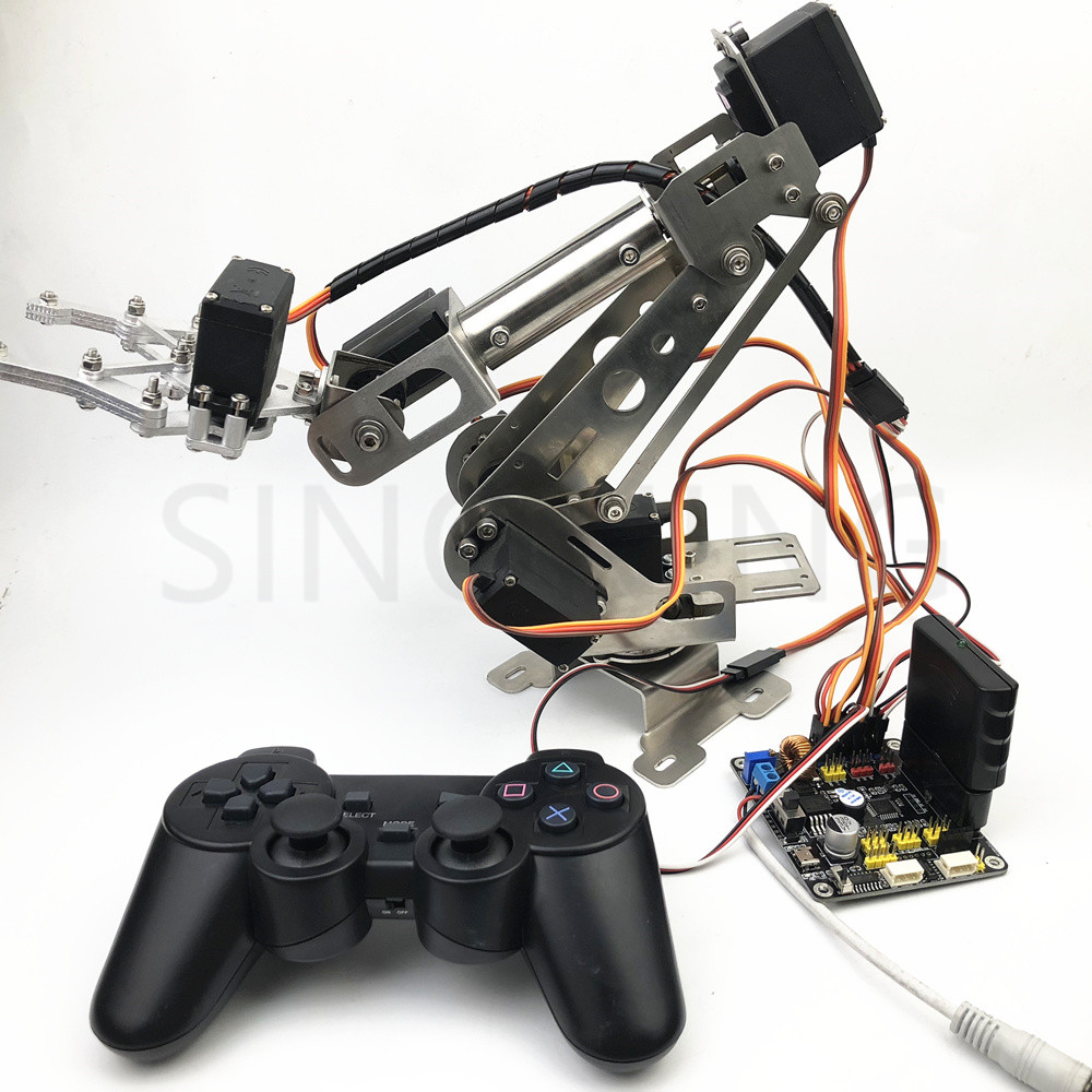 6dof Remote Control Robotic Arm arduino Stainless Steel with claw robot 6dof robotic aluminium robot arm clamp claw