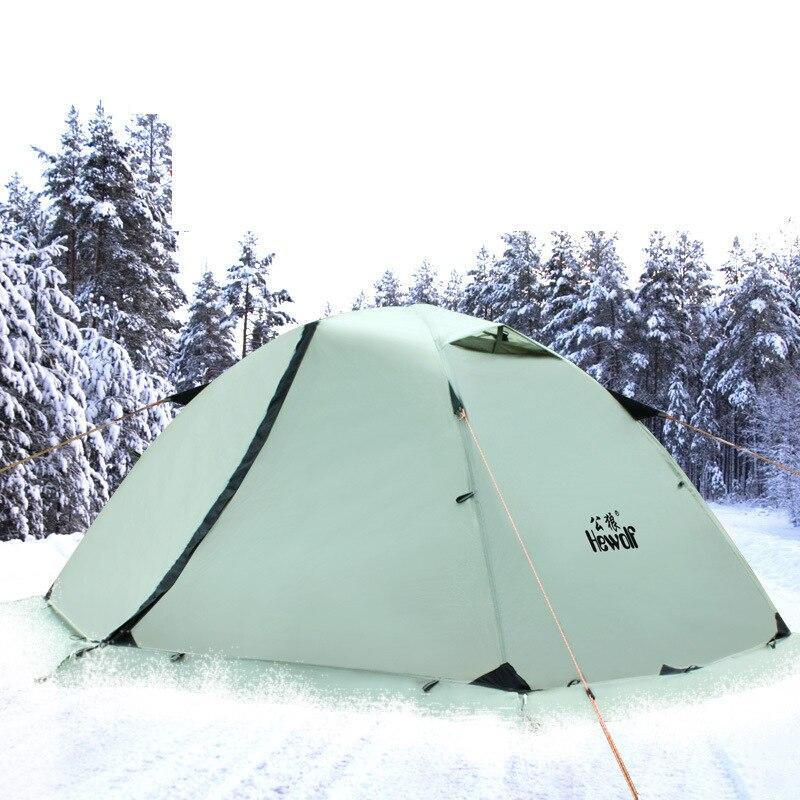 Hewolf HW-Z1595 2 personnes utilisent des poteaux en aluminium Double couche imperméable à l'eau imperméable à la neige coupe-vent ultra-léger tente de Camping avec jupe de neige