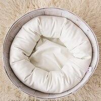 PU Leather O Type Bean Bag Baby Photo Shoot For Studio Flokati Newborn Photography Props Basket