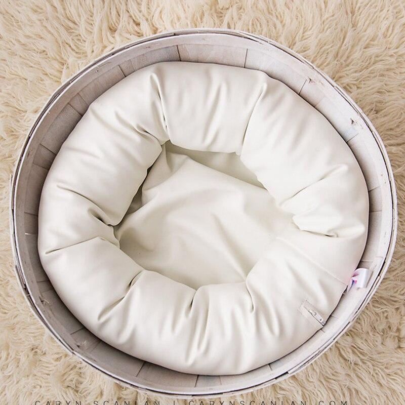 PU cuir O Type haricot sac bébé Photo Shoot pour Studio Flokati nouveau-né photographie accessoires panier