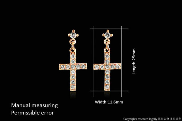 Cubic Zirconia Cross Drop Dangle Earrings Rose Gold Color Silver Tone Fashion Jewelry For Women Wholesale.jpg 640x640 - Cubic Zirconia Cross Drop/Dangle Earrings Rose Gold Color/Silver Tone Fashion Jewelry For Women Wholesale Punk Style DWE328