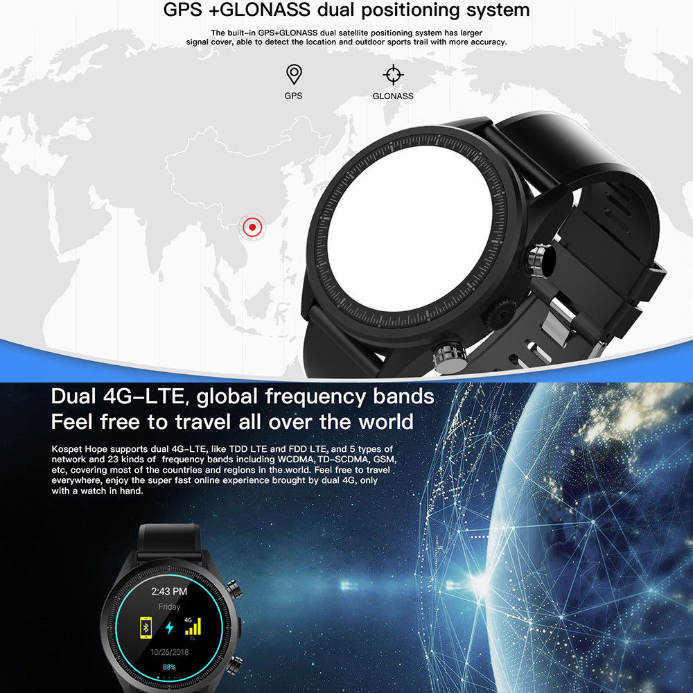 4G Smart Watch Dual Systems Android 7 1 1 LTE 3G 32G 4G Sim 8MP Front  Camera GPS WIFI Heart Rate Smartwatch for Men Women