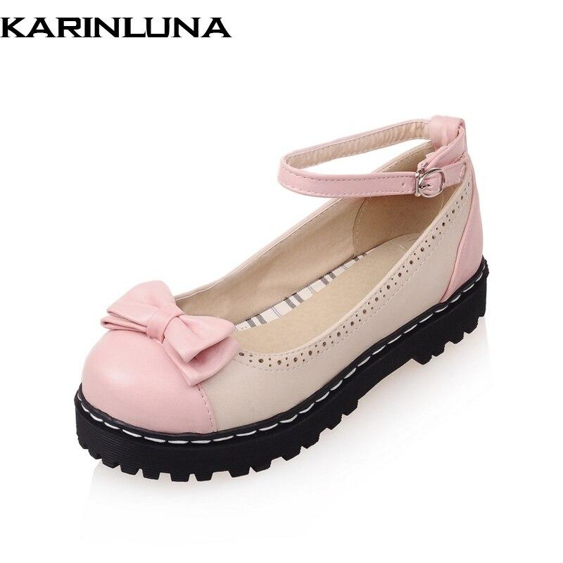 KARINLUNA Wholesale Dropship Platform Sweet Mary Janes Flats Spring Summer Shoes Women Ankle Strap Platform Flat Heels 2018