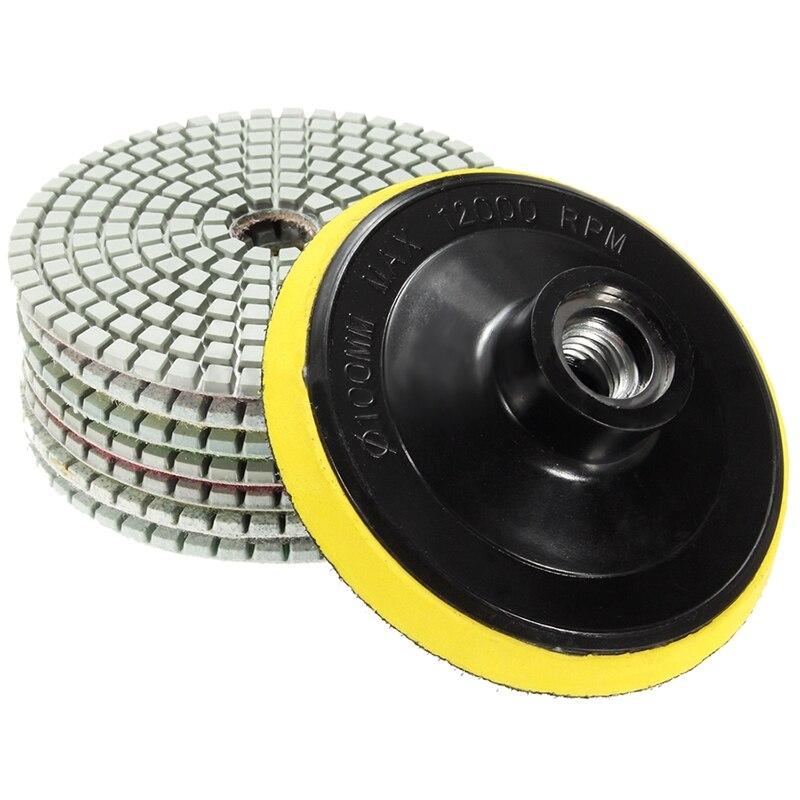 8Pcs Diamond Polishing Pads 4 Inch Wet/Dry Set For Granite Stone Concrete Marble