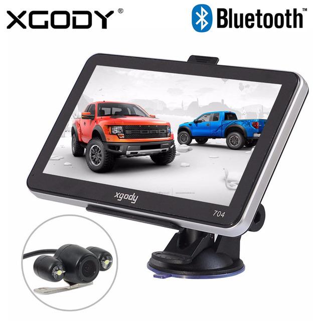 """Xgody 704 7 """"Bluetooth Car GPS Navigation 4 GB Caminhão Sab Nav Navegador GPS com Câmera de Visão Traseira 2016 Europa América Mapa Livre"""