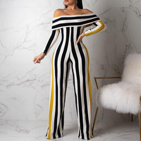 HONZBORY New Women 2019 One Shoulder Pants Summer Playsuit Party Jumpsuit Sexy Striped Romper Trousers
