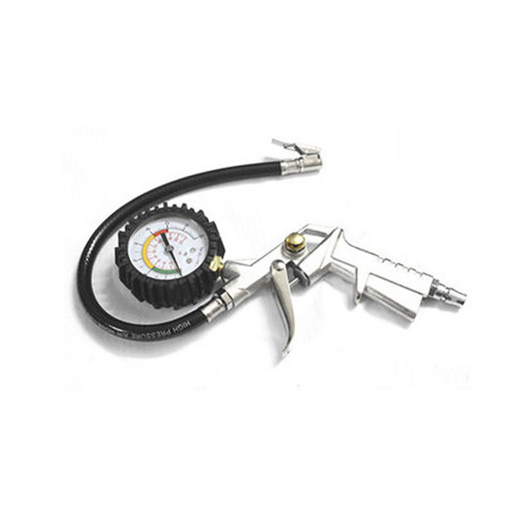Tyre Inflator Tire Pump with Pressure Gauge Compressor Air Flexible Hose Tool hot sale tyre inflating inflator gun air pressure gauge for light truck and bicycle tires pneumatic pump compressor sanmin
