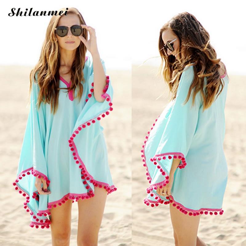 2017 summer chiffon Tunic beach dress tassel swimwear tunic Dress Boho Sundress Robe Mini loose batman sleeve Bikini beachwear