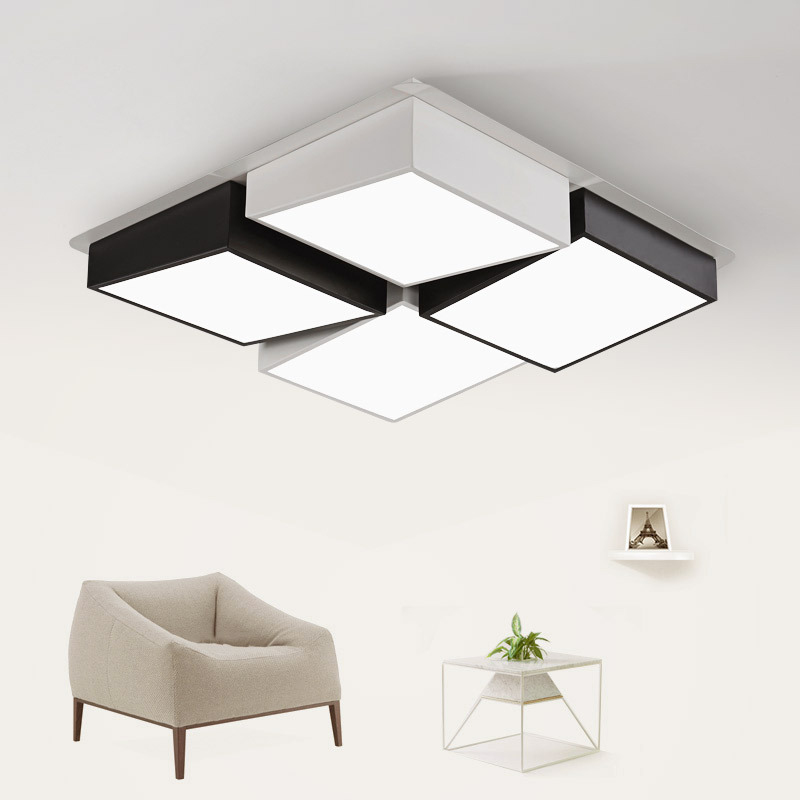 Us 124 95 15 Off Novel Black And White Cube Ceiling Lamp Square Hall Light Led Iron Acrylic Material Living Room Modern Home Lighting In