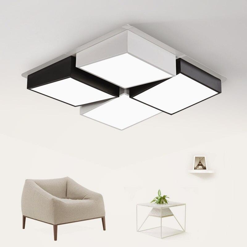 Novel Black And white Cube Ceiling Lamp Square Hall Light LED Lamp Iron Acrylic Material Living Room LED Modern Home Lighting