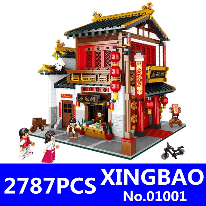 XingBao 01001 2787Pcs Creative Chinese Style The Chinese Silk and Satin Store Set Building Blocks Bricks Toys Model Children Toy