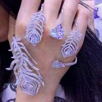 Luxury Crystal silver feather bangle Palm Bracelet Women Girl White Gold Color Hand Cuff Fashion Shiny Rhinestone Bangle Jewelry