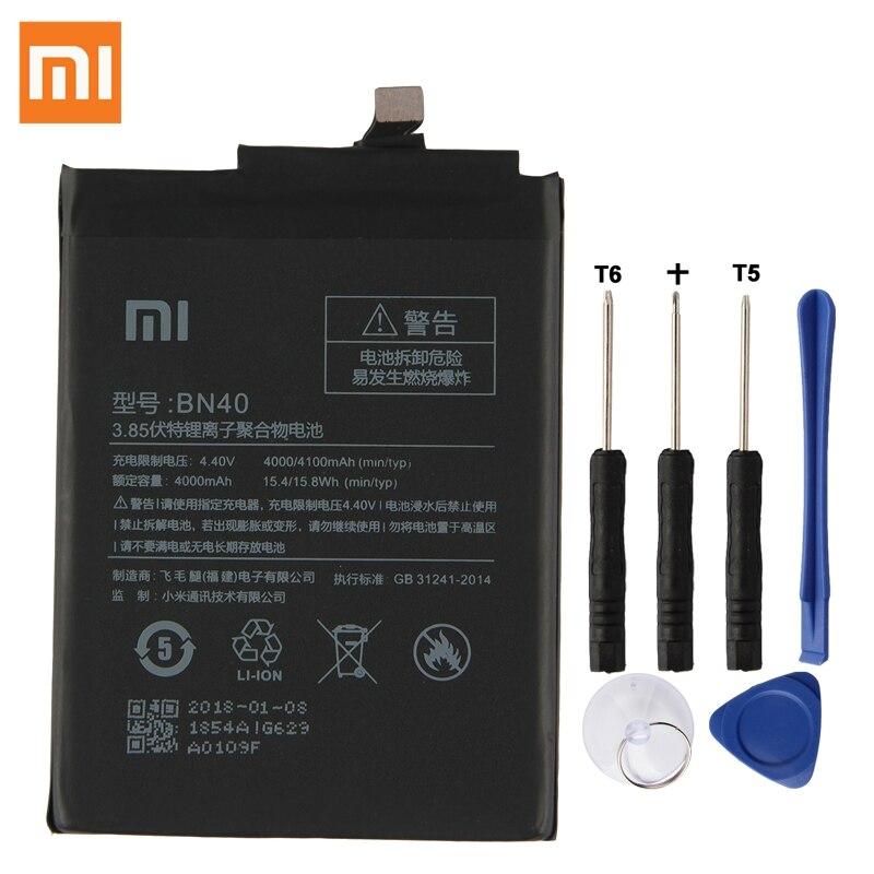 Original batería de reemplazo para Xiaomi Redmi 4 Pro Prime 3G RAM 32G ROM edición Redrice 4 Hongmi 4 BN40 genuino de la batería de 4100 Mah