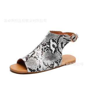 Image 5 - Elegant Flat With Rome Gladiator Women Sandals T Strap Back Strap Concise Boho Shoes Buckle Peep Toe Plus Size Sandals