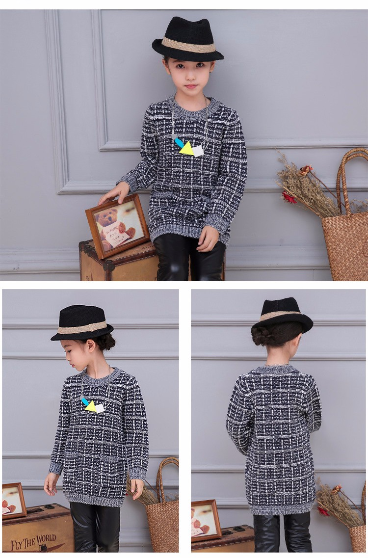 plaid knitting children sweater girl pullovers tops long sleeve autumn 2016 pockets knitted sweater for girls o-neck fall clothes 5 6 7 8 9 10 11 12 13 14 15 16 years old little big teenage girls children sweater girl 2016 (9)
