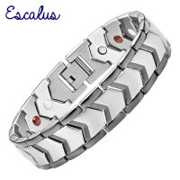 2015 Men 4in1 Magnets Negative Ions Germanium Far Infar Red Stainless Bracelet Black Gun Jewelry Free