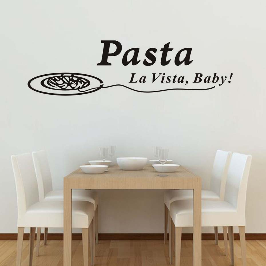 Quotes Pasta La Vista Baby Wall Sticker Decals Funny Dining Room Poster Vinyl Art Stickers Pvc Home Decor Kitchen Decorations