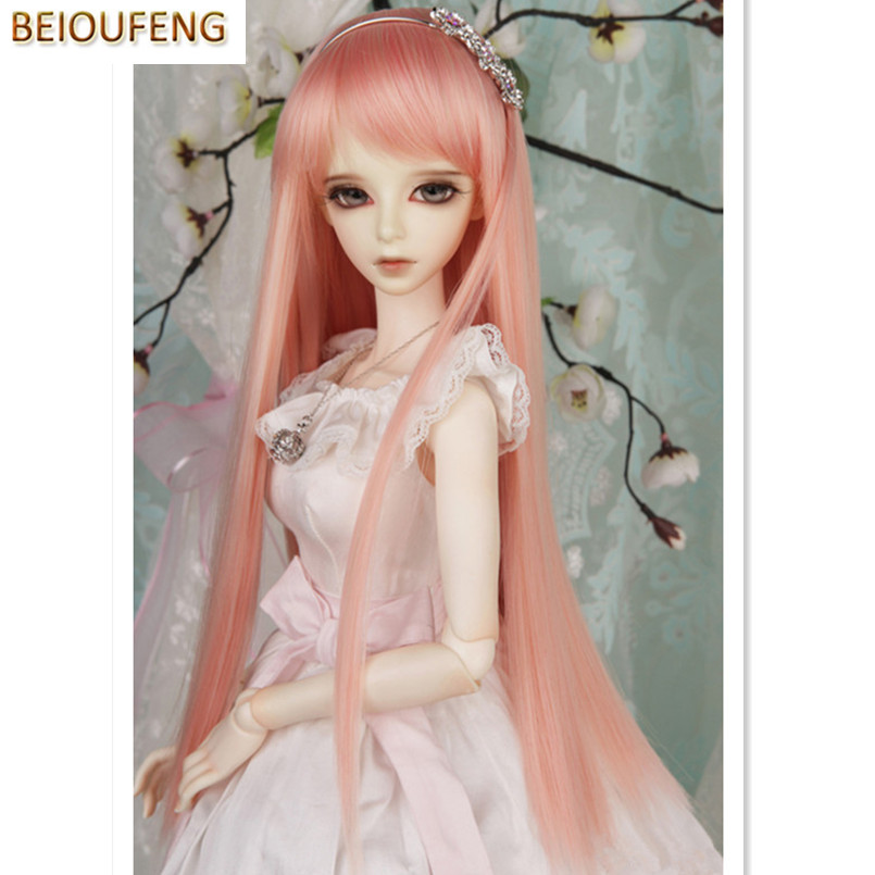 BEIOUFENG BJD Wig 1/3  1/4  High-temperature Doll Wig Long Straight Hair for Dolls Accessories,Fashion Synthetic-Hair-for-Dolls beioufeng 1 3 1 4 1 6 bjd sd doll wigs high temperature wire long straight bjd wig with two buns fashion accessories for dolls