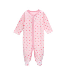 Newborn Baby Rompers Girls Long Sleeve Soft Cotton Pink Color Dot Print Jumpsuits & Rompers 2016 Autumn Kids Climbing Clothing