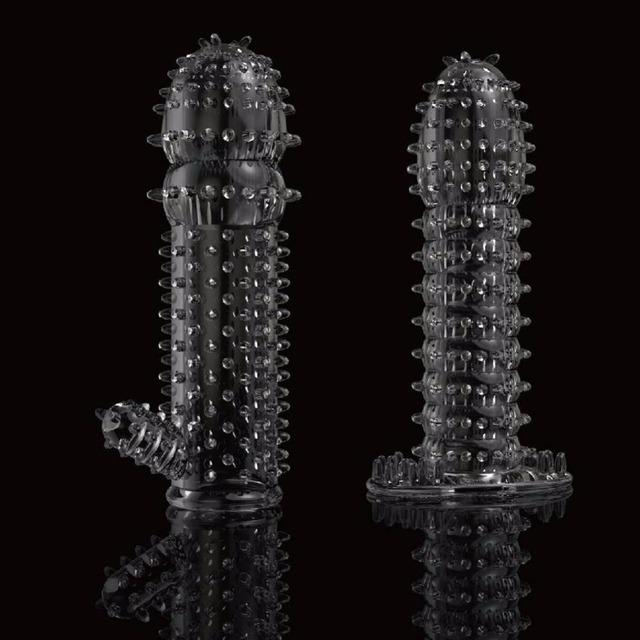Textured Penis Extender delay condom enlargement Clitoris Labia Massager erection aid vibrator sleeve sex toys for men