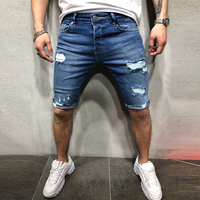Streetwear Men's Jean Vintage Destroyed Ripped Short Jeans Knee Pants Hip Hop Jeans Men Stretch Jeans
