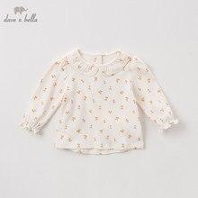 DBZ11143 1 dave bella 봄 가을 아기 소녀 귀여운 꽃 셔츠 유아 유아 100% 코튼 탑스 어린이 고품질의 옷