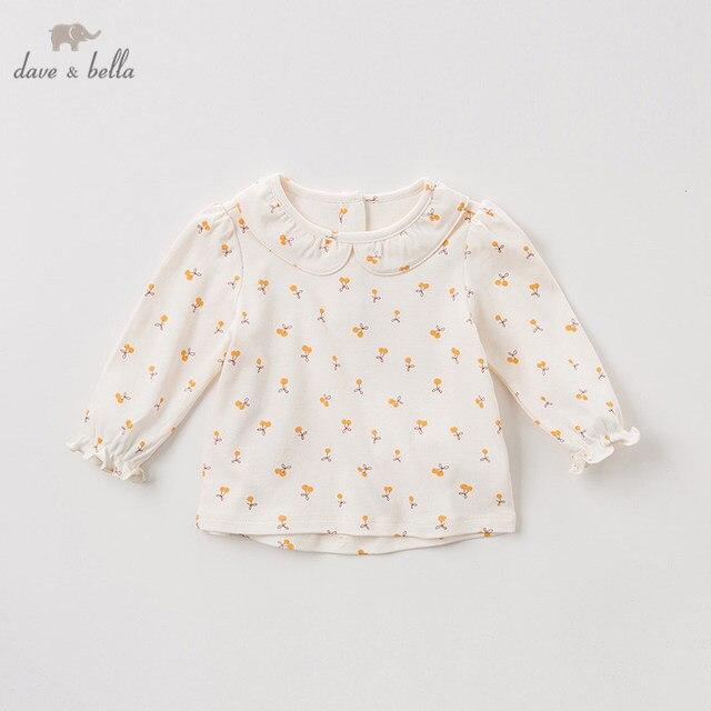 DBZ11143 1 dave bella primavera outono do bebê meninas floral bonito camisas infantil criança 100% algodão encabeça crianças roupas de alta qualidade