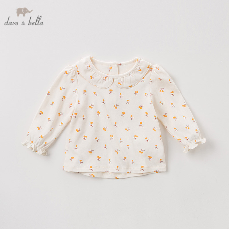 DBZ11143 1 dave bella spring autumn baby girls cute floral shirts infant toddler 100% cotton tops children high quality clothesBlouses & Shirts   -