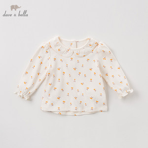 Image 1 - DBZ11143 1 dave bella spring autumn baby girls cute floral shirts infant toddler 100% cotton tops children high quality clothes