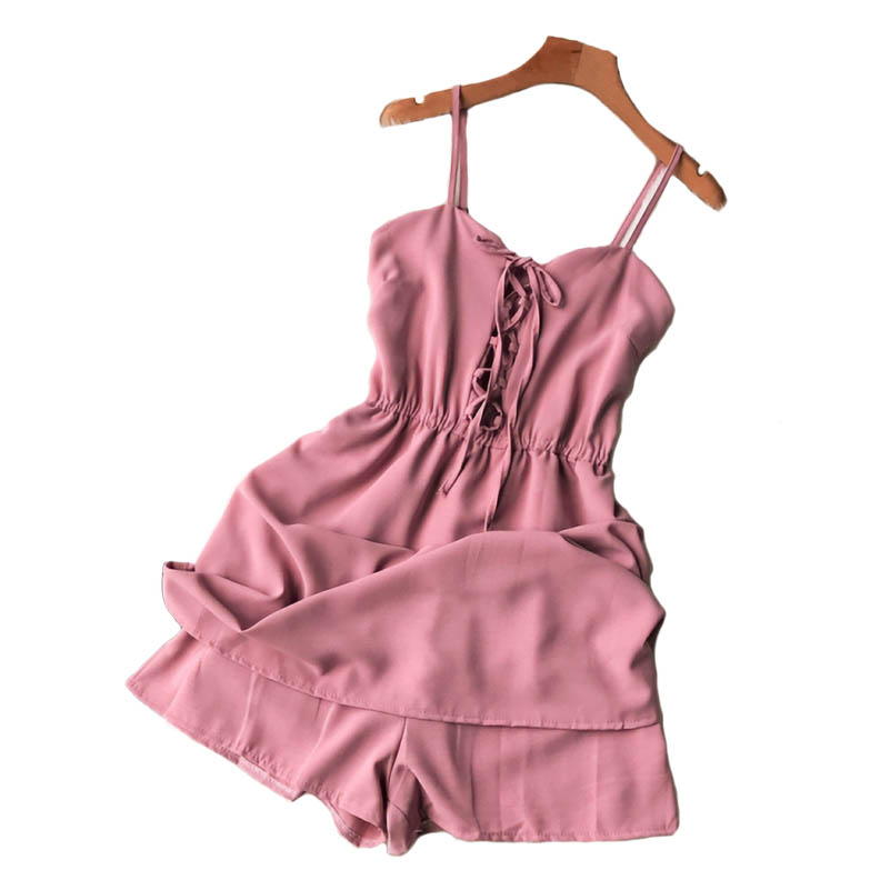NiceMix 2020 Summer New Simple Sling Women Party Jumps Was Thin High Waist Sexy V-neck Elastic Waist Bandage Female Rompers New