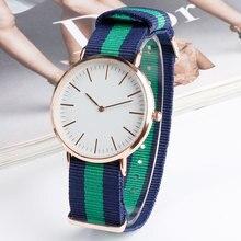 Fashion Minimalist Student Casual Simple Girl Wristwatch Quartz Blue&Green Stripe Nylon Nato Band Women Watches Relogio Gift