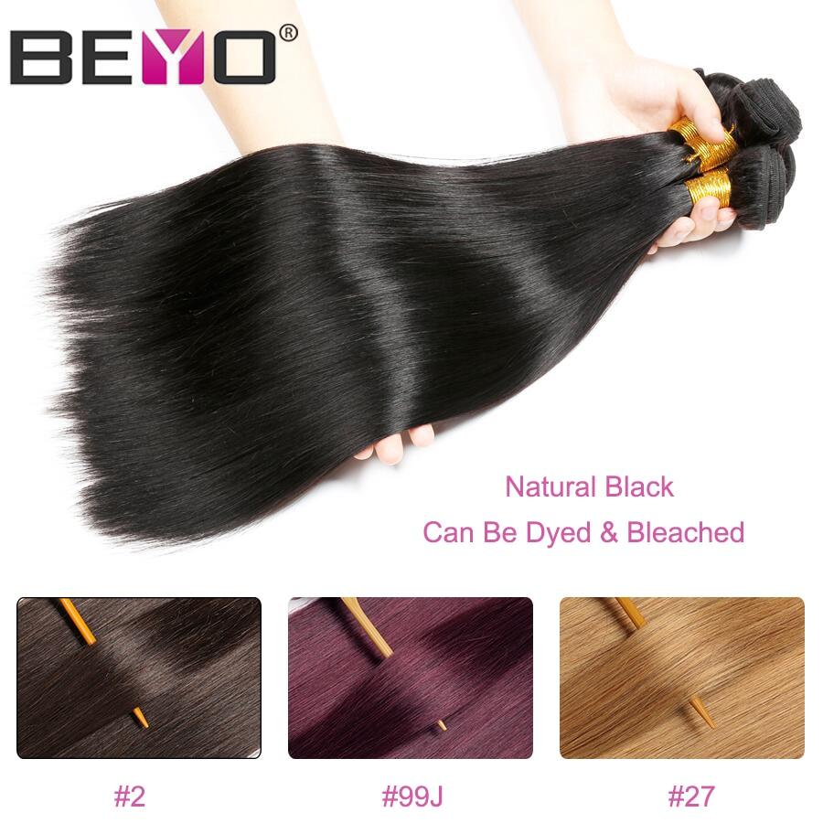 Beyo Straight Hair Bundles 100% Human Hair Bundles Non-Remy - Mänskligt hår (svart) - Foto 4