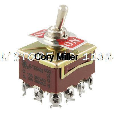 AC 15A/250V 10A/380V 2 Way On/On 4 Pole Double Throw 4PDT Toggle Switch ac 250v 2a on on 2 way 1p2t spdt solder 3 terminals pcb mount toggle switch