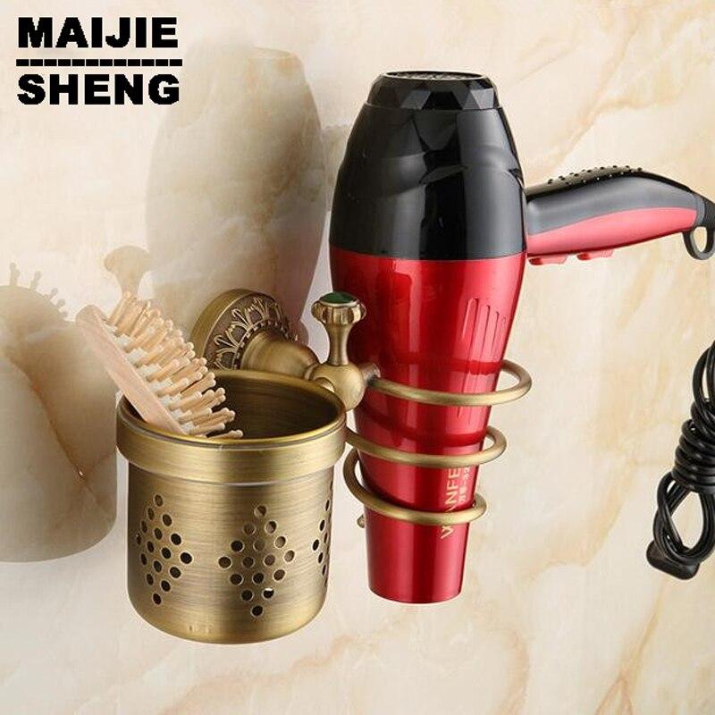 Households Rack Hair Blow Dryer Holder tooth brush Shelf Bathroom antique brass blower shelf hair dryer