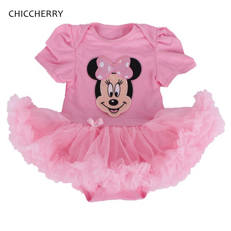 Pink Minnie Bebe Summer Newborn Baby Girl Clothes Body Baby Rompers Lace Tutu Dress Roupa Infantil Jumpsuit 2017 Infant Clothing
