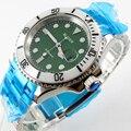 Bliger 40 мм зеленый циферблат Дата белый керамический Безель светящийся saphire стекло автоматическое движение Мужские часы