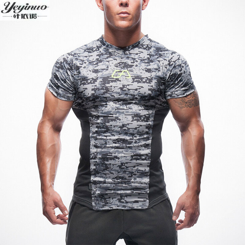 2017 New T-shirt men Tights Fitness Quick Dry Casual Stretch Top Tee Shirt Fitness Hot Sale mens v-neck T-shirt