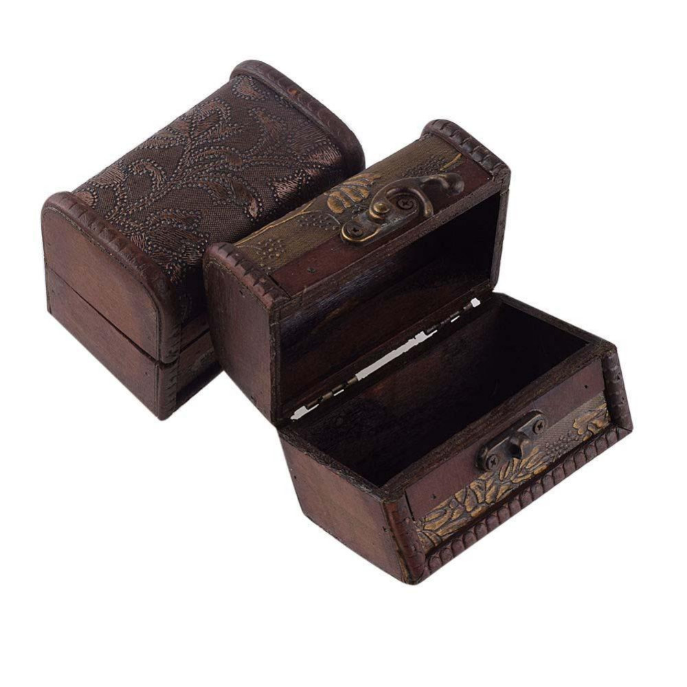 2017 Vintage Jewelry Box Organizer Storage Case Mini Wood Flower Pattern Container Handmade Metal Lock Wooden Small Boxes