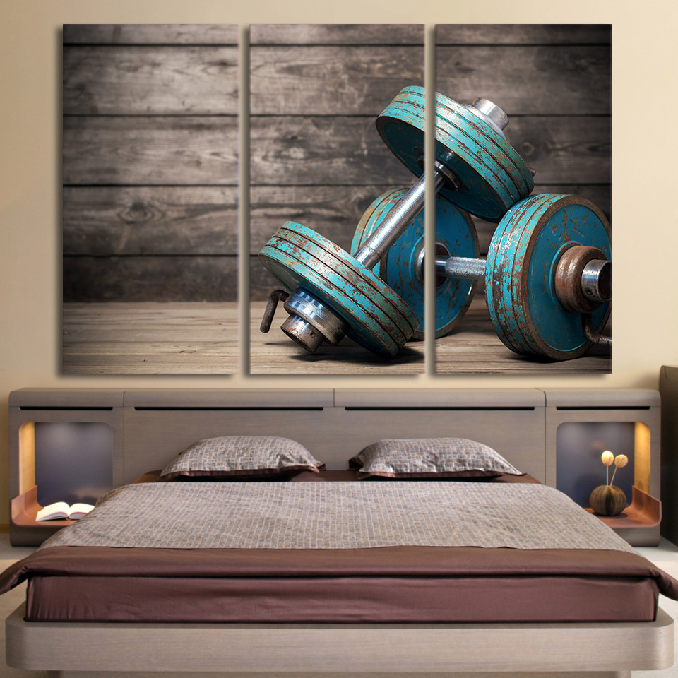 Aliexpress Com Buy Free Shipping 3 Piece Wall Decor: Aliexpress.com : Buy HD Print 3 Piece Canvas Art Dumbbells