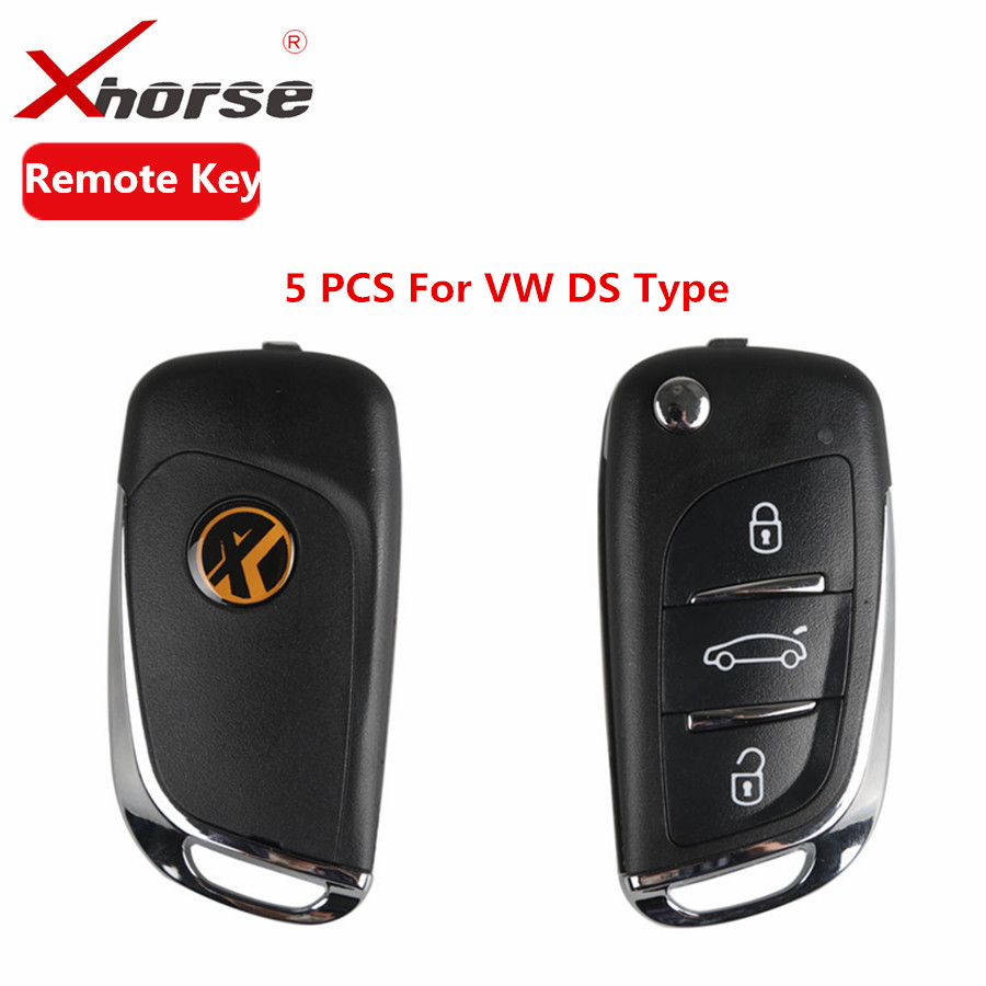 XHORSE VVDI2 For DS Type Remote Key 3 Buttons Remote Key Shell For V-W Transponder Chip X002 Remote Key 5 PCS/lot