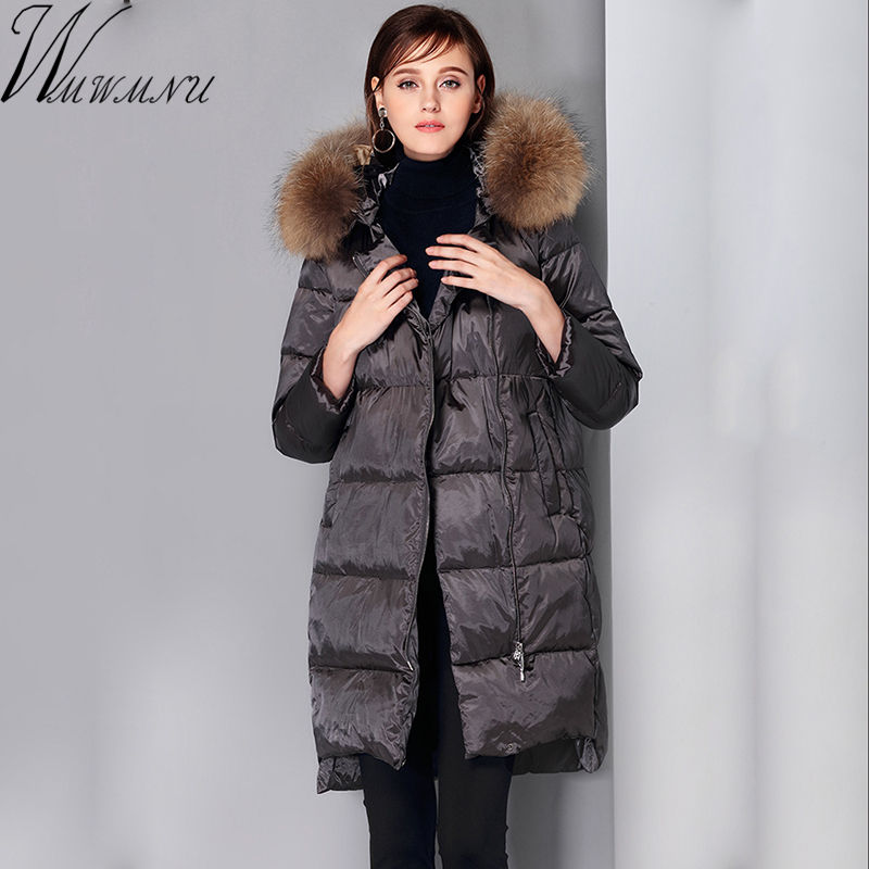 Wmwmnu Winter Jacket Women 90% Duck Coat 2017 Warm Parka Female medium Long Down Jacket Coat With Removable fur collar wmwmnu 2017 winter fashion women s long hooded 90% white duck down jacket female warm coat parkas outerwear good quality coats