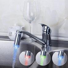 Длинным носиком кухня светодиодные 3 вида цветов Изменен Поворотный Chrome 8393B бассейна раковины водопроводной воды сосуд Санузел torneira смеситель кран