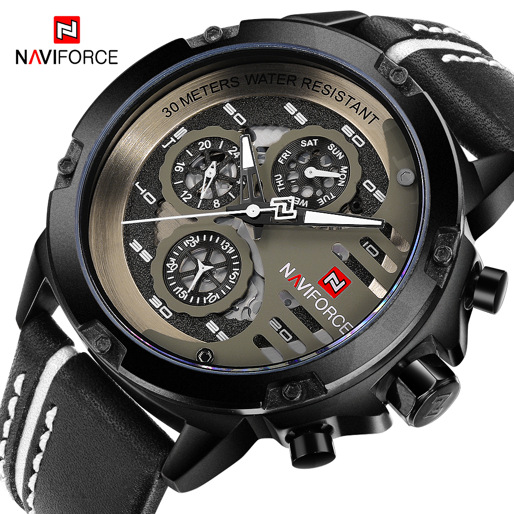 <font><b>NAVIFORCE</b></font> Men Watches Male Sport Wrist Watch Chronograph Quartz Watch Men's Casual Leather Waterproof Dial Military Watch image