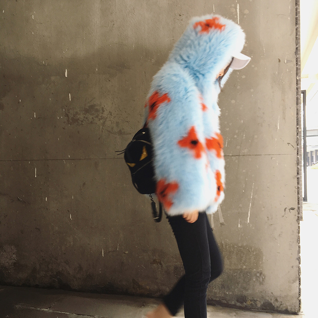 2016 New Arrival 100% Natural Fox Fur Knitted Coat With Hood,Women's Real Fox Fur Outerwear Hooded BE-1663 EMS Free Shipping 4