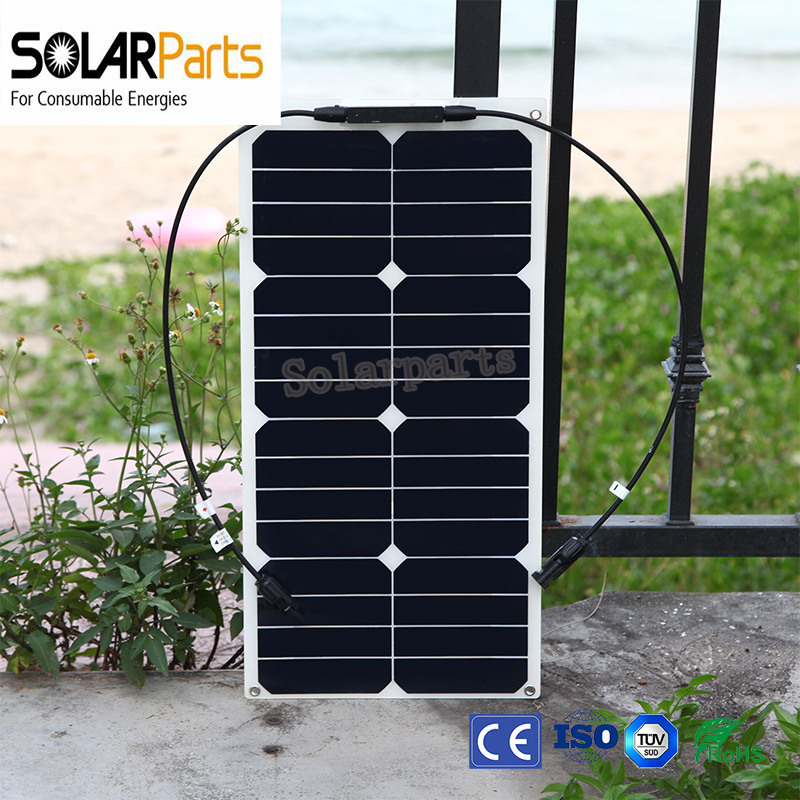 BOGUANG 2PCS 12V  25W free shipping solar panel semi flexible solar panel monocrystalline silicon for car RV boat battery sp 36 120w 12v semi flexible monocrystalline solar panel waterproof high conversion efficiency for rv boat car 1 5m cable