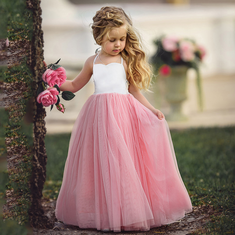 B&N Fashion Spaghetti Girl Dress Wedding Party Tulle Dress For Children Princess Summer Dresses Clothing 1-64