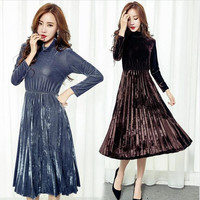 Women's Fashion Dresses A line Pleated Vintage Dress Long Sleeve Velvet Dress