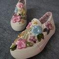 Hand Made Vivid Цветок Холст Обувь Женская Ленивый Педаль Толстым Дном Обувь Loafer Ступил Обувь Женщины Винтаж Холст Обувь